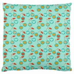 Light Teal Heart Cherries Standard Flano Cushion Case (one Side) by snowwhitegirl
