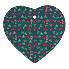 Teal Hats Ornament (heart) by snowwhitegirl