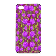 Roses Dancing On A Tulip Field Of Festive Colors Apple Iphone 4/4s Seamless Case (black) by pepitasart