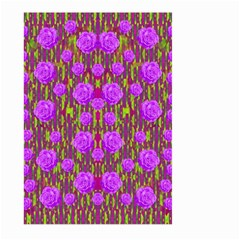 Roses Dancing On A Tulip Field Of Festive Colors Large Garden Flag (two Sides) by pepitasart