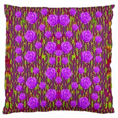 Roses Dancing On A Tulip Field Of Festive Colors Standard Flano Cushion Case (one Side) by pepitasart