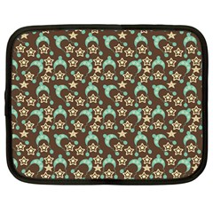 Brown With Blue Hats Netbook Case (large) by snowwhitegirl