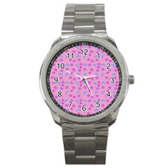 Pink Star Blue Hats Sport Metal Watch by snowwhitegirl
