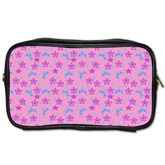 Pink Star Blue Hats Toiletries Bags 2 Side by snowwhitegirl