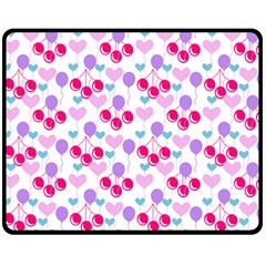 Pastel Cherries Fleece Blanket (medium)  by snowwhitegirl