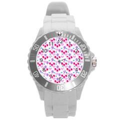 Pastel Cherries Round Plastic Sport Watch (l) by snowwhitegirl