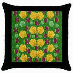 Roses Dancing On  Tulip Fields Forever Throw Pillow Case (black) by pepitasart