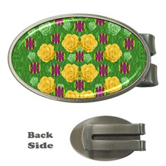 Roses Dancing On  Tulip Fields Forever Money Clips (oval)  by pepitasart