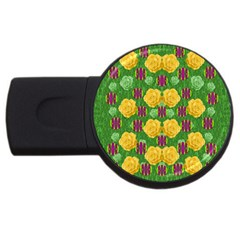 Roses Dancing On  Tulip Fields Forever Usb Flash Drive Round (2 Gb) by pepitasart