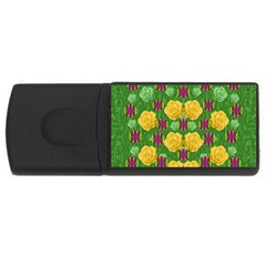 Roses Dancing On  Tulip Fields Forever Rectangular Usb Flash Drive by pepitasart