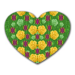 Roses Dancing On  Tulip Fields Forever Heart Mousepads by pepitasart