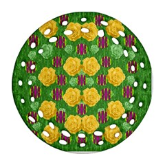 Roses Dancing On  Tulip Fields Forever Ornament (round Filigree) by pepitasart