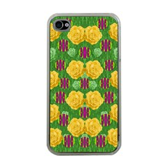 Roses Dancing On  Tulip Fields Forever Apple Iphone 4 Case (clear) by pepitasart