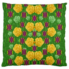 Roses Dancing On  Tulip Fields Forever Large Cushion Case (two Sides) by pepitasart