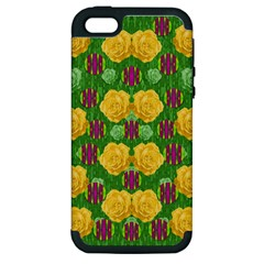 Roses Dancing On  Tulip Fields Forever Apple Iphone 5 Hardshell Case (pc+silicone) by pepitasart