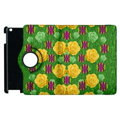 Roses Dancing On  Tulip Fields Forever Apple Ipad 2 Flip 360 Case by pepitasart