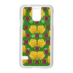 Roses Dancing On  Tulip Fields Forever Samsung Galaxy S5 Case (white) by pepitasart