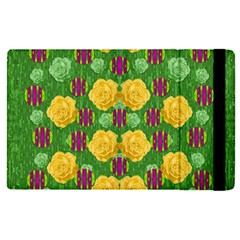 Roses Dancing On  Tulip Fields Forever Apple Ipad Pro 9 7   Flip Case by pepitasart