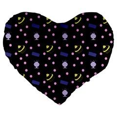 Cakes And Sundaes Black Large 19  Premium Heart Shape Cushions by snowwhitegirl