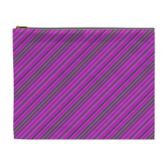 Pink Violet Diagonal Lines Cosmetic Bag (xl) by snowwhitegirl
