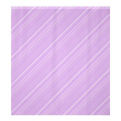 Lilac Diagonal Lines Shower Curtain 66  X 72  (large)  by snowwhitegirl