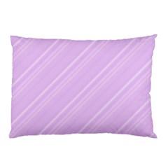 Lilac Diagonal Lines Pillow Case (two Sides) by snowwhitegirl