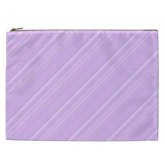 Lilac Diagonal Lines Cosmetic Bag (xxl)  by snowwhitegirl