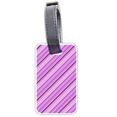 Violet Diagonal Lines Luggage Tags (two Sides) by snowwhitegirl