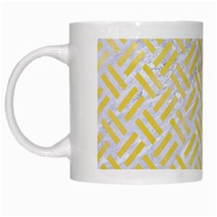 Woven2 White Marble & Yellow Watercolor (r) White Mugs by trendistuff