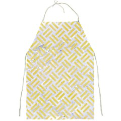 Woven2 White Marble & Yellow Watercolor (r) Full Print Aprons by trendistuff