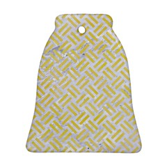 Woven2 White Marble & Yellow Watercolor (r) Bell Ornament (two Sides) by trendistuff