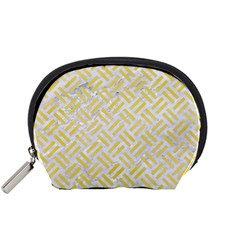Woven2 White Marble & Yellow Watercolor (r) Accessory Pouches (small)  by trendistuff