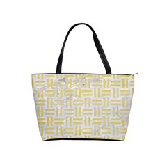 Woven1 White Marble & Yellow Watercolor (r) Shoulder Handbags by trendistuff