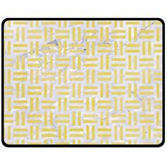 Woven1 White Marble & Yellow Watercolor (r) Fleece Blanket (medium)  by trendistuff