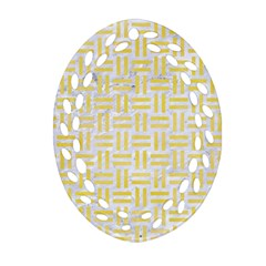 Woven1 White Marble & Yellow Watercolor (r) Oval Filigree Ornament (two Sides) by trendistuff