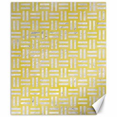 Woven1 White Marble & Yellow Watercolor Canvas 8  X 10  by trendistuff