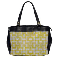 Woven1 White Marble & Yellow Watercolor Office Handbags by trendistuff
