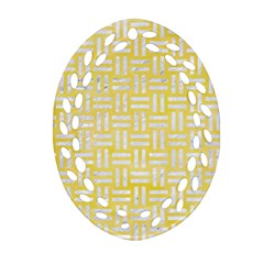 Woven1 White Marble & Yellow Watercolor Oval Filigree Ornament (two Sides) by trendistuff