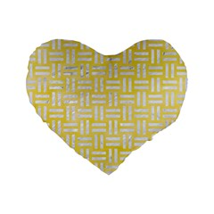 Woven1 White Marble & Yellow Watercolor Standard 16  Premium Heart Shape Cushions by trendistuff