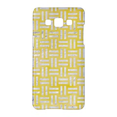 Woven1 White Marble & Yellow Watercolor Samsung Galaxy A5 Hardshell Case  by trendistuff