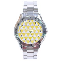 Triangle3 White Marble & Yellow Watercolor Stainless Steel Analogue Watch by trendistuff