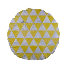 Triangle3 White Marble & Yellow Watercolor Standard 15  Premium Flano Round Cushions by trendistuff