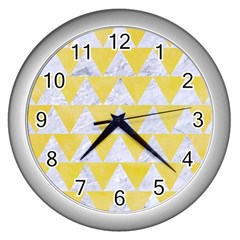 Triangle2 White Marble & Yellow Watercolor Wall Clocks (silver)  by trendistuff