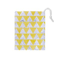 Triangle2 White Marble & Yellow Watercolor Drawstring Pouches (medium)  by trendistuff