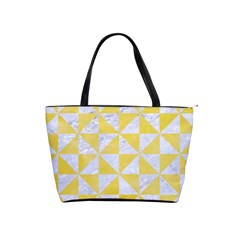Triangle1 White Marble & Yellow Watercolor Shoulder Handbags by trendistuff