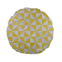 Triangle1 White Marble & Yellow Watercolor Standard 15  Premium Flano Round Cushions by trendistuff