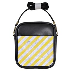Stripes3 White Marble & Yellow Watercolor (r) Girls Sling Bags by trendistuff