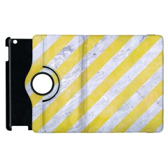 Stripes3 White Marble & Yellow Watercolor (r) Apple Ipad 2 Flip 360 Case by trendistuff