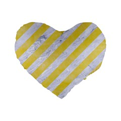 Stripes3 White Marble & Yellow Watercolor (r) Standard 16  Premium Heart Shape Cushions by trendistuff