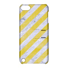 Stripes3 White Marble & Yellow Watercolor (r) Apple Ipod Touch 5 Hardshell Case With Stand by trendistuff